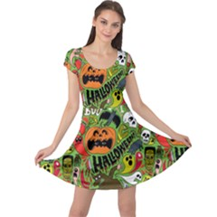 Halloween Pattern Cap Sleeve Dresses by AnjaniArt