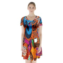 J Pattern Cartoons Short Sleeve V Neck Flare Dress by AnjaniArt