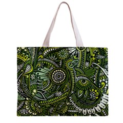 Green Boho Flower Pattern Zz0105 Zipper Mini Tote Bag by Zandiepants