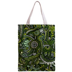 Green Boho Flower Pattern Zz0105 Zipper Classic Tote Bag by Zandiepants