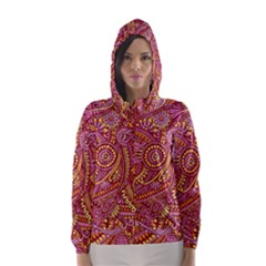 Pink Yellow Hippie Flower Pattern Zz0106 Hooded Wind Breaker (women) by Zandiepants