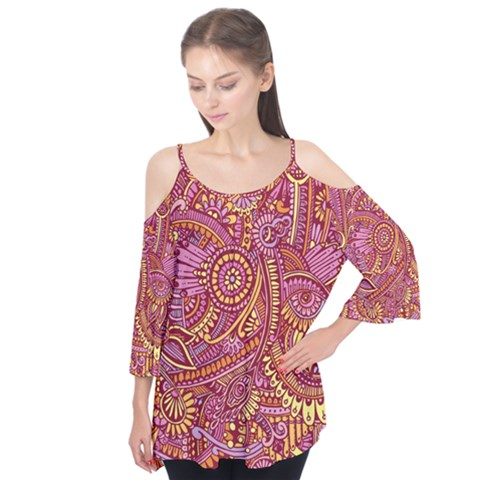 Pink Yellow Hippie Flower Pattern Zz0106 Flutter Tees by Zandiepants