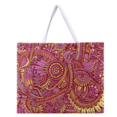 Pink Yellow Hippie Flower Pattern Zz0106 Zipper Large Tote Bag by Zandiepants