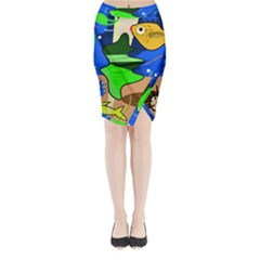 Aquarium  Midi Wrap Pencil Skirt by Valentinaart