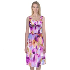 Lila Bohemian Chic Brushstrokes Midi Sleeveless Dress by Contest2481019