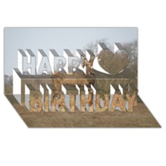 Red Deer Stag On A Hill Happy Birthday 3d Greeting Card (8x4) by GiftsbyNature