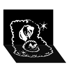Funny Black And White Doodle Snowballs Ribbon 3d Greeting Card (7x5) by yoursparklingshop