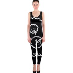 Funny Black And White Doodle Snowballs Onepiece Catsuit by yoursparklingshop