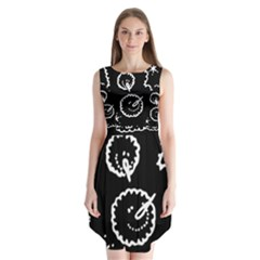 Funny Black And White Doodle Snowballs Sleeveless Chiffon Dress
