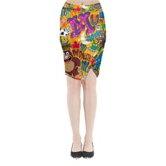 M Pattern Midi Wrap Pencil Skirt