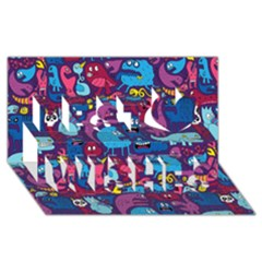 Mo Monsters Mo Patterns Best Wish 3d Greeting Card (8x4)