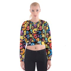 Monster Faces Women s Cropped Sweatshirt