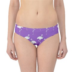 Flamingos Pattern White Purple Hipster Bikini Bottoms by CrypticFragmentsColors