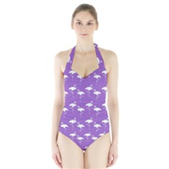 Flamingos Pattern White Purple Halter Swimsuit by CrypticFragmentsColors