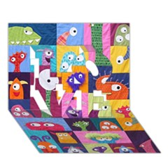 Monster Quilt Love 3d Greeting Card (7x5) by AnjaniArt
