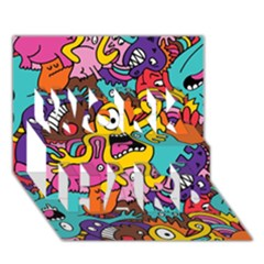 Monsters Pattern Work Hard 3d Greeting Card (7x5)