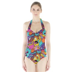 Monsters Pattern Halter Swimsuit
