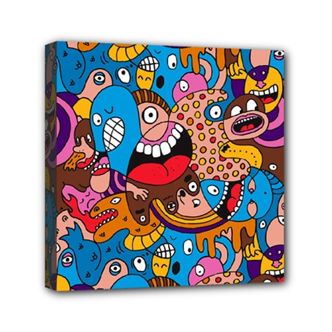 People Face Fun Cartoons Mini Canvas 6  X 6  by AnjaniArt