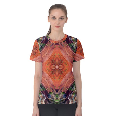 Boho Bohemian Hippie Floral Abstract Faded  Women s Cotton Tee by CrypticFragmentsDesign
