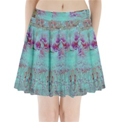 Retro Hippie Abstract Floral Blue Violet Pleated Mini Skirt
