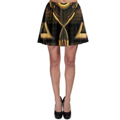 Golden Metallic Abstract Modern Art Skater Skirt by CrypticFragmentsDesign