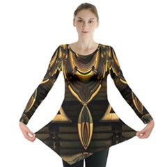 Golden Metallic Abstract Modern Art Long Sleeve Tunic  by CrypticFragmentsDesign