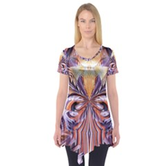 Fire Goddess Abstract Modern Digital Art  Short Sleeve Tunic  by CrypticFragmentsDesign