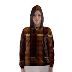 Metallic Geometric Abstract Urban Industrial Futuristic Modern Digital Art Hooded Wind Breaker (women)
