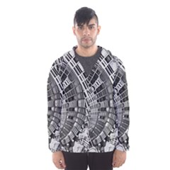 Semi Circles Abstract Geometric Modern Art Hooded Wind Breaker (men) by CrypticFragmentsDesign