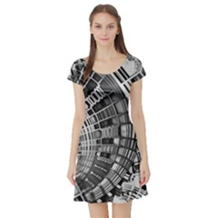 Semi Circles Abstract Geometric Modern Art Short Sleeve Skater Dress by CrypticFragmentsDesign