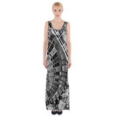 Semi Circles Abstract Geometric Modern Art Maxi Thigh Split Dress by CrypticFragmentsDesign