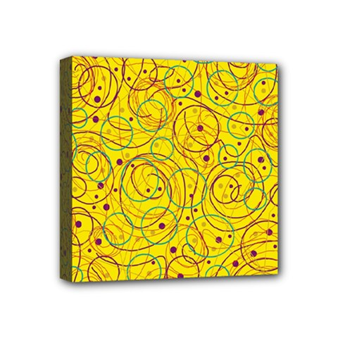 Yellow Abstract Art Mini Canvas 4  X 4  by Valentinaart