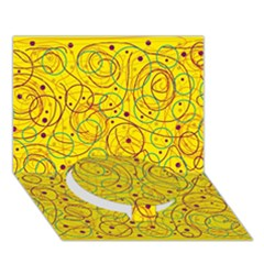 Yellow Abstract Art Circle Bottom 3d Greeting Card (7x5) by Valentinaart