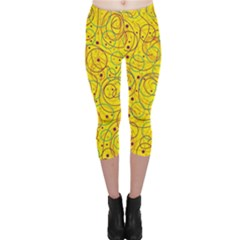 Yellow Abstract Art Capri Leggings  by Valentinaart