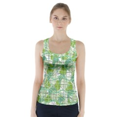 Gray Decorative Abstraction Racer Back Sports Top by Valentinaart