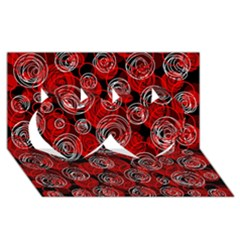 Red Abstract Decor Twin Hearts 3d Greeting Card (8x4)