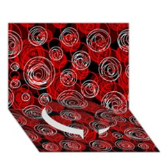 Red Abstract Decor Circle Bottom 3d Greeting Card (7x5)