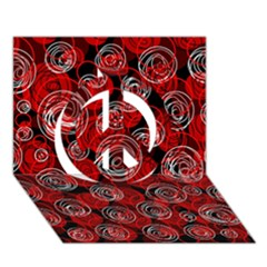 Red Abstract Decor Peace Sign 3d Greeting Card (7x5)