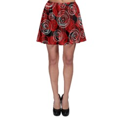 Red Abstract Decor Skater Skirt by Valentinaart