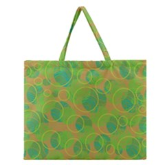 Green Decorative Art Zipper Large Tote Bag by Valentinaart