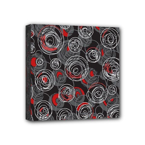 Red And Gray Abstract Art Mini Canvas 4  X 4