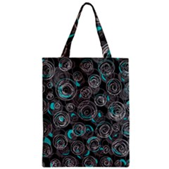 Gray And Blue Abstract Art Zipper Classic Tote Bag by Valentinaart