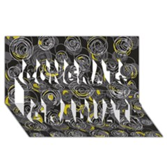 Gray And Yellow Abstract Art Congrats Graduate 3d Greeting Card (8x4) by Valentinaart