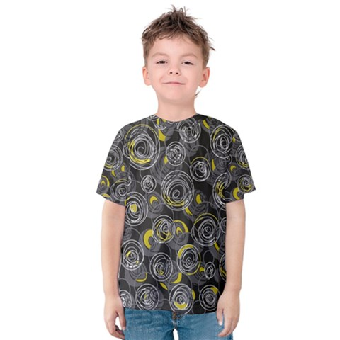 Gray And Yellow Abstract Art Kids  Cotton Tee by Valentinaart
