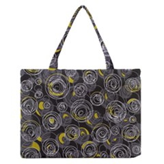 Gray And Yellow Abstract Art Medium Zipper Tote Bag by Valentinaart