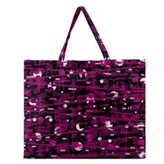 Magenta Abstract Art Zipper Large Tote Bag by Valentinaart