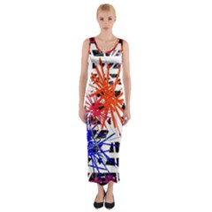 Colorful Big Bang Fitted Maxi Dress by Valentinaart