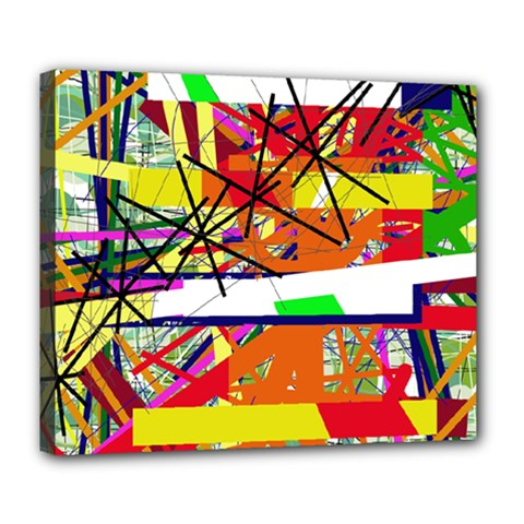 Colorful Abstraction By Moma Deluxe Canvas 24  X 20   by Valentinaart