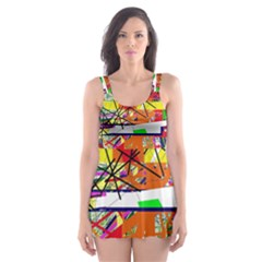 Colorful Abstraction By Moma Skater Dress Swimsuit by Valentinaart
