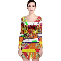 Colorful Abstraction By Moma Long Sleeve Velvet Bodycon Dress by Valentinaart